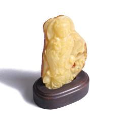 黄花梨红木馆 蜜蜡 观音 原石 无优化 111克