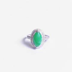 伟爵珠宝  彩色宝石 绿马眼女戒 主石尺寸 7.2*13.2