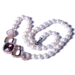 一園利 珍珠 珍珠毛衣鏈 貓眼石時尚珍珠毛衣鏈 8-9mm