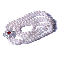 一園利 珍珠 珍珠毛衣鏈 仿紅寶石雙鏈珍珠毛衣鏈 8-9mm