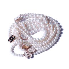 一園利 珍珠 珍珠毛衣鏈 香奈兒款塔鏈毛衣鏈 7-8mm