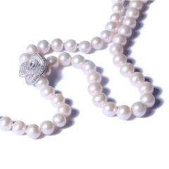 一園利 珍珠 珍珠毛衣鏈 Y鏈花朵毛衣鏈(銀)8-9mm