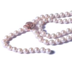 一園利 珍珠 珍珠毛衣鏈 Y鏈花朵毛衣鏈(金)8-9mm