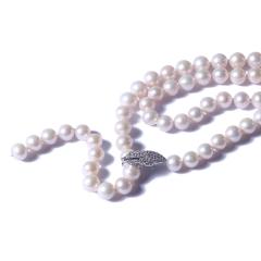 一園利 珍珠 珍珠毛衣鏈 四葉草Y鏈毛衣鏈 9-10mm