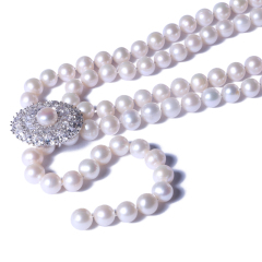一園利 珍珠 珍珠毛衣鏈 Y鏈太陽花毛衣鏈 9-10mm