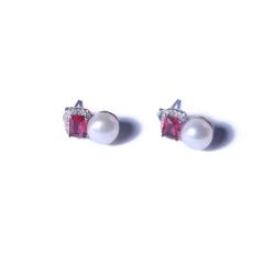 一園利 珍珠 珍珠耳坠/珍珠耳钉 仿红宝石耳钉 8-9mm