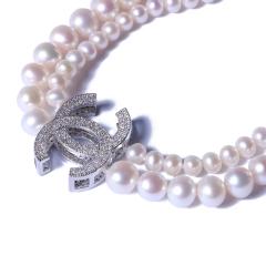一園利 珍珠 珍珠毛衣鏈 香奈兒雙圈毛衣鏈 小珠5-6mm 大珠8-9mm