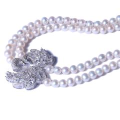 一園利 珍珠 珍珠毛衣鏈 天鵝款雙圈毛衣鏈 7-8mm