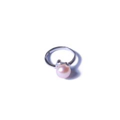 一園利 珍珠 珍珠戒指 银镶珍珠戒指简单款(粉)