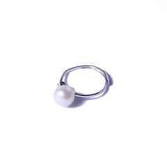 一園利 珍珠 珍珠戒指 銀鑲珍珠戒指簡單款(白)
