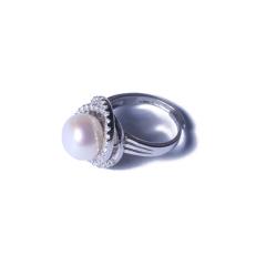 一園利 珍珠 珍珠戒指 银镶珍珠戒指豪华款