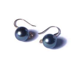 一園利 珍珠 珍珠耳坠/珍珠耳钉 海水18k孔雀绿耳坠 9-10mm