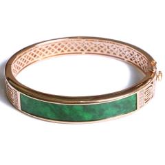 凤凰翠绿珠宝   18k金镶钻翡翠手镯   55mm   黄金珠宝