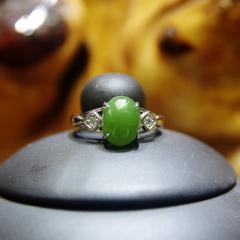 新疆天然玉石和田玉碧玉纯正菠菜翡翠绿女戒指裸面镶嵌特价包邮