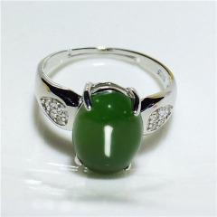 天然和田玉冰种翠绿碧玉玉石蛋面925银饰镶嵌玉石戒指女戒指