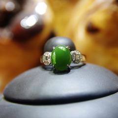 天然新疆和田碧玉翠绿戒指2015新款珠宝镶嵌女士指环包邮专柜正品