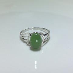 天然新疆和田玉石碧玉戒指女款活口925纯银镶嵌镀白金菠菜绿指环
