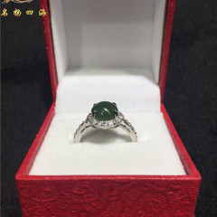 天然俄罗斯碧玉戒指菠菜绿小巧精致魅力女士款925银饰镶嵌包邮