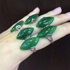 精品碧玉戒指菠菜绿指环925银镶女士戒指开口戒指带证书