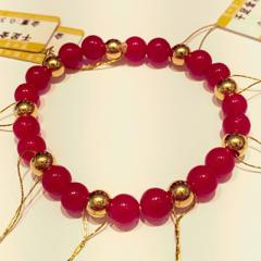 金中金钻中钻 黄金珠宝 手串 999足金珠配红玛瑙手串 金重3.06g 总重 9.93g