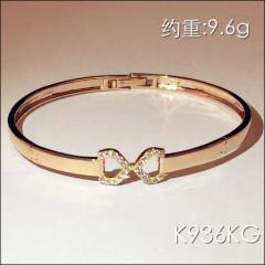 金中金钻中钻 黄金珠宝 黄金手镯 AU750 18K金锆石金手镯 约重9.6g