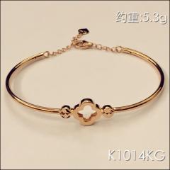 金中金钻中钻 黄金珠宝 黄金手镯 AU750 18K玫瑰金手镯 约重5.3g