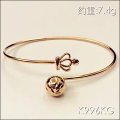 金中金钻中钻 黄金珠宝 黄金手镯 AU750 18K玫瑰金手镯 约重7.4g