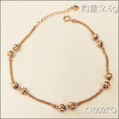 金中金钻中钻 黄金珠宝 手链 18K金玫瑰金手链 约重2.6g