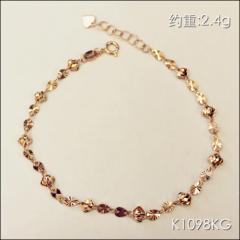 金中金鉆中鉆 黃金珠寶 手鏈 18K金玫瑰金手鏈 約重2.4g