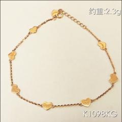 金中金钻中钻 黄金珠宝 手链 18K金玫瑰金手链 约重2.3g