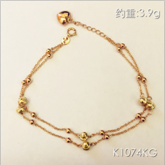 金中金鉆中鉆 黃金珠寶 手鏈 18K金玫瑰金手鏈 約重3.9g