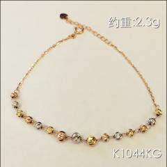 金中金鉆中鉆 黃金珠寶 手鏈 18K金玫瑰金手鏈 約重2.3g