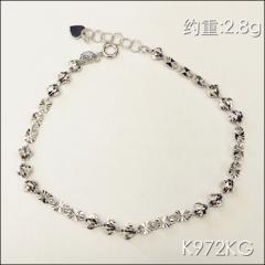 金中金钻中钻 黄金珠宝 手链 18K白金手链 约重2.8g