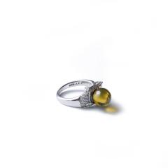 雅集堂    琥珀  蓝珀戒指   黄金珠宝玉器