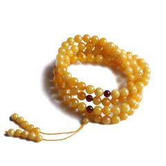 文缘阁   0.7mm鸡油黄蜜蜡手串108颗  重量21.70g  黄金珠宝玉器蜜蜡